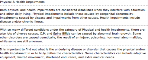 Physical and Health Impairments